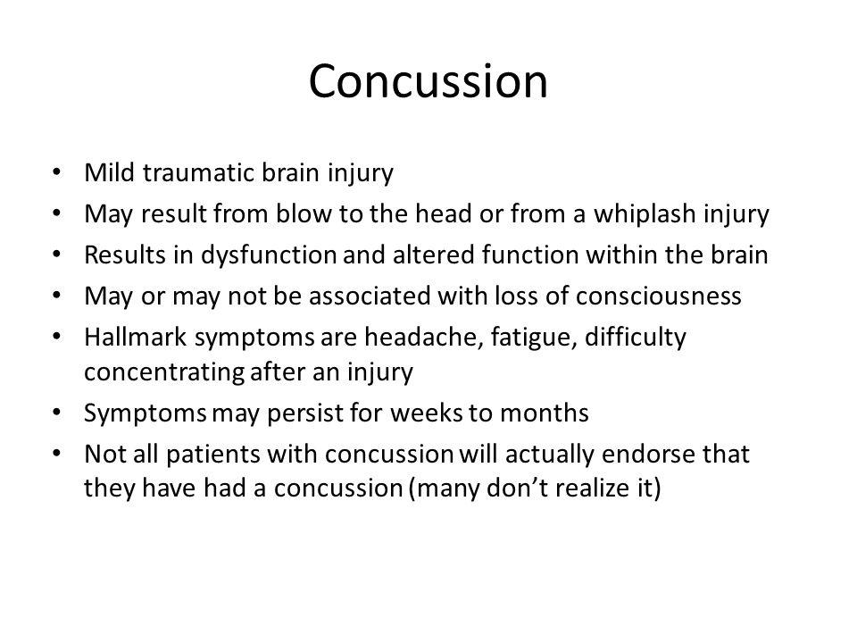 Concussion Mild traumatic brain injury