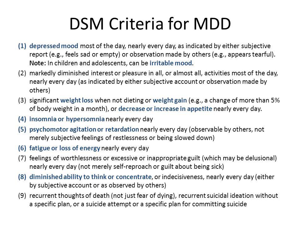 DSM Criteria for MDD