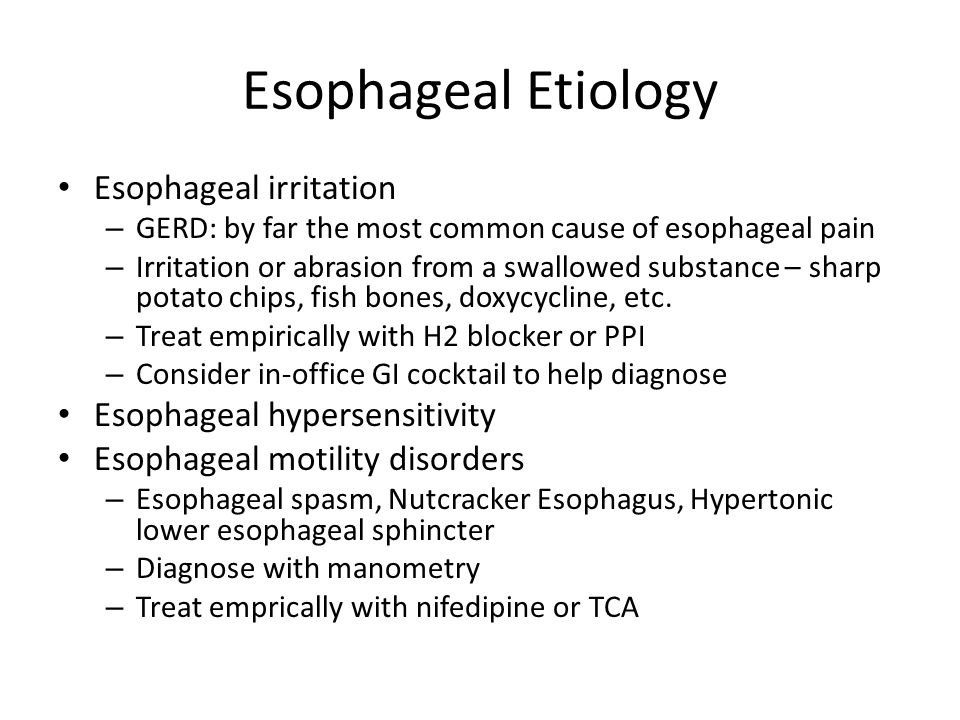 Esophageal Etiology Esophageal irritation Esophageal hypersensitivity
