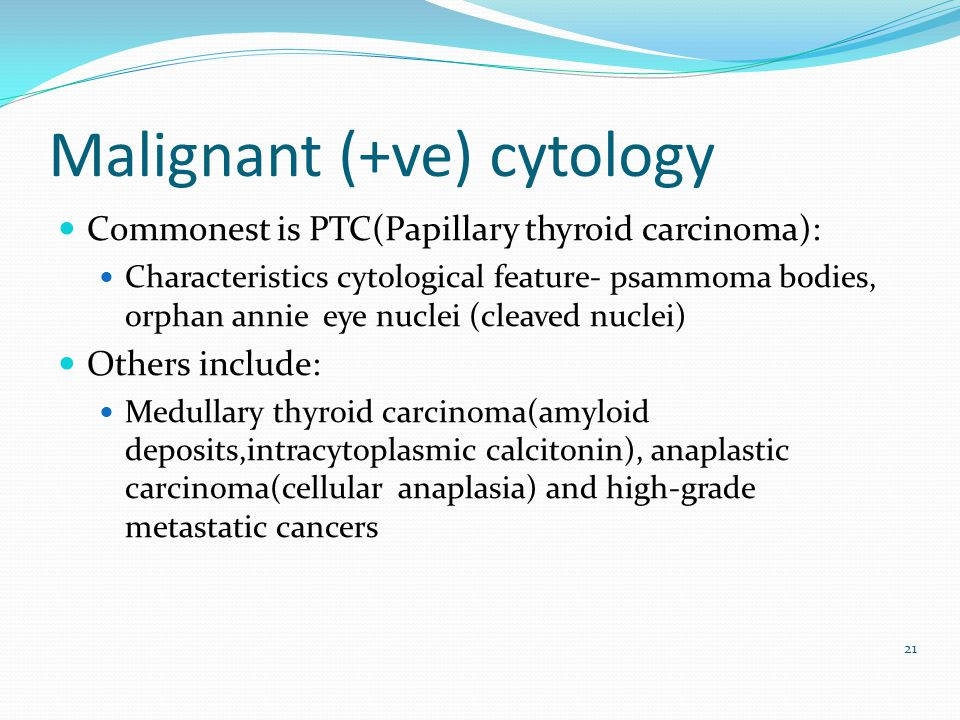 Malignant (+ve) cytology