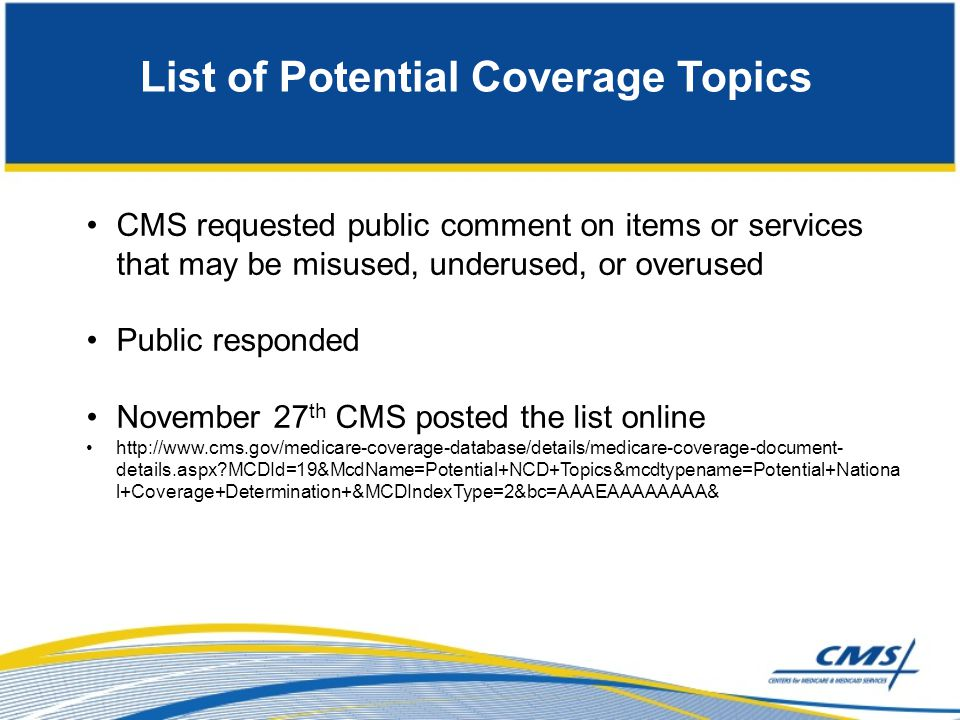 List of Potential Coverage Topics