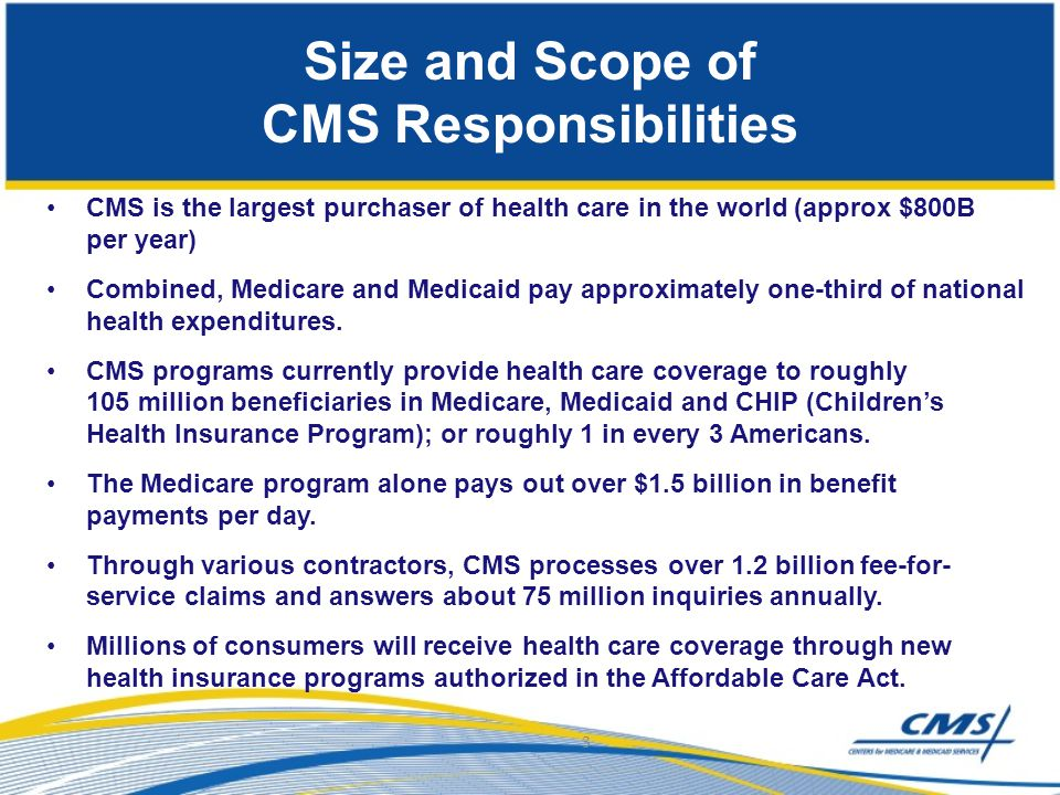 Size and Scope of CMS Responsibilities