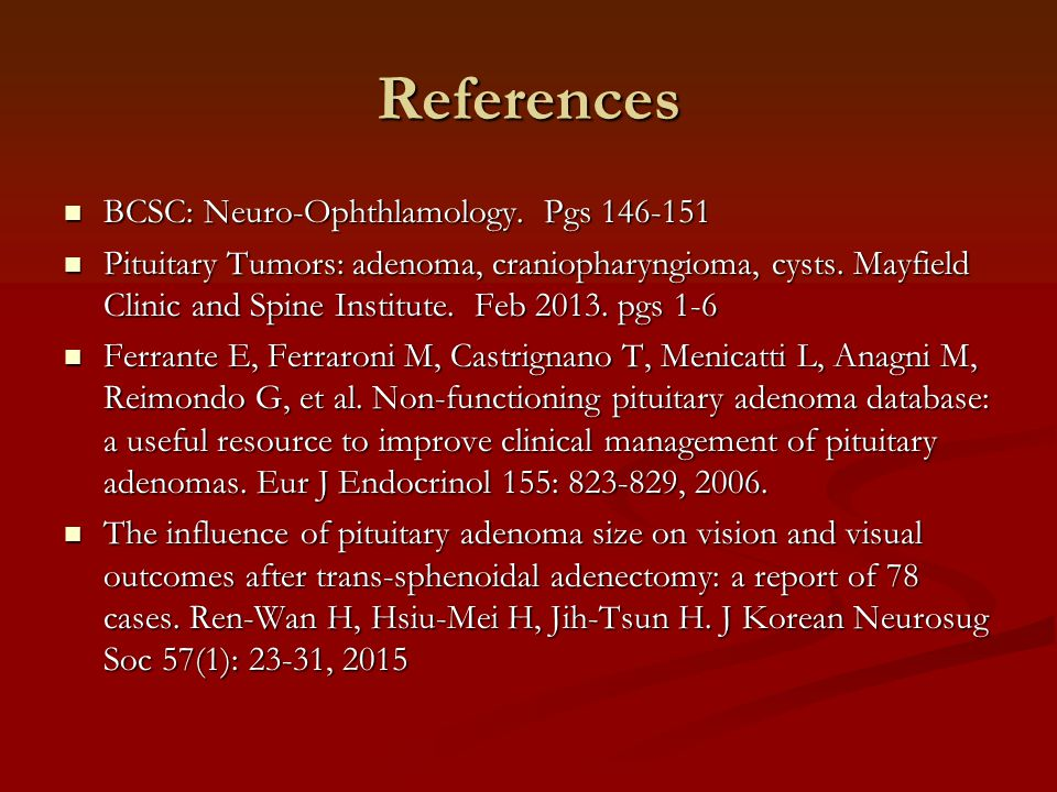 References BCSC: Neuro-Ophthlamology. Pgs 146-151