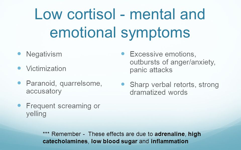 Low cortisol - mental and emotional symptoms