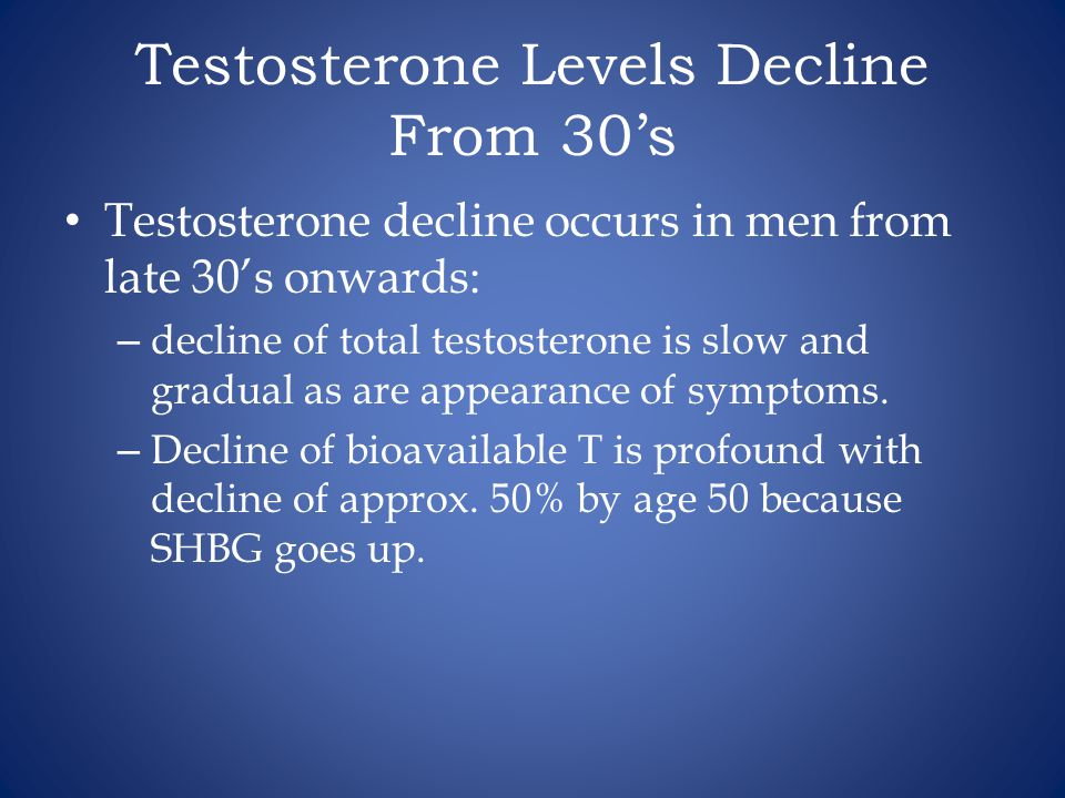 Testosterone Levels Decline From 30's