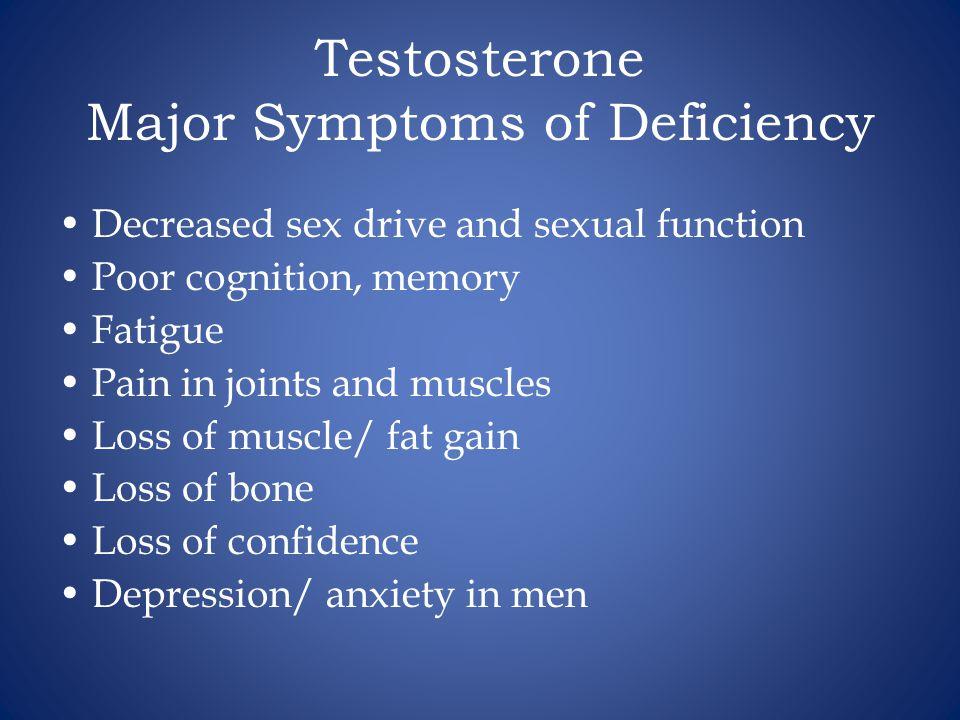Testosterone Major Symptoms of Deficiency
