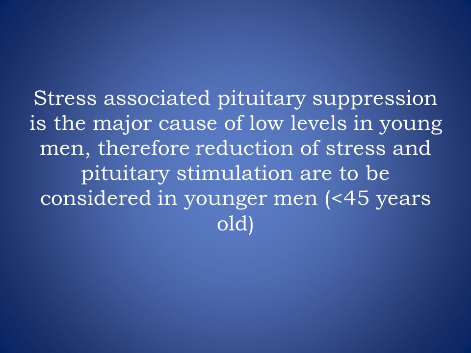 Stress associated pituitary suppression is the major cause of low levels in young men, therefore reduction of stress and pituitary stimulation are to be considered in younger men (<45 years old)
