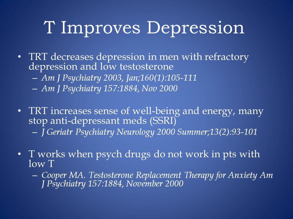 T Improves Depression TRT decreases depression in men with refractory depression and low testosterone.
