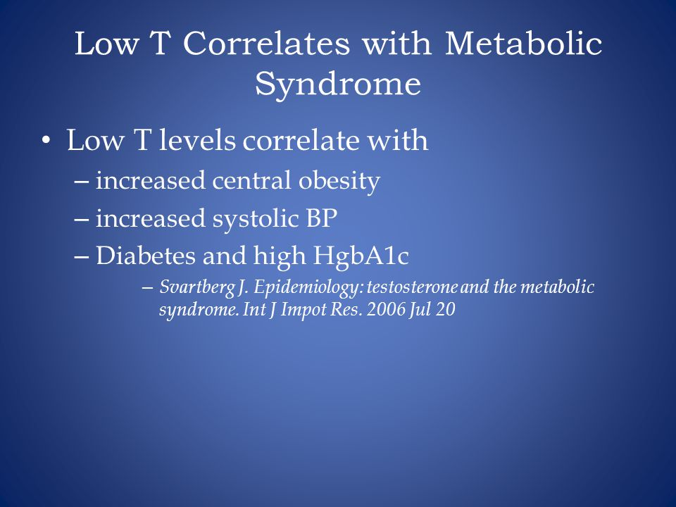 Low T Correlates with Metabolic Syndrome