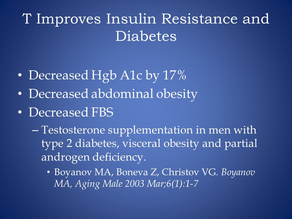 T Improves Insulin Resistance and Diabetes