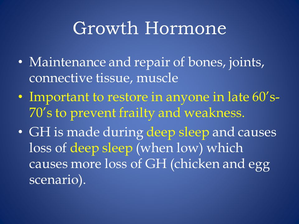 Growth Hormone Maintenance and repair of bones, joints, connective tissue, muscle.