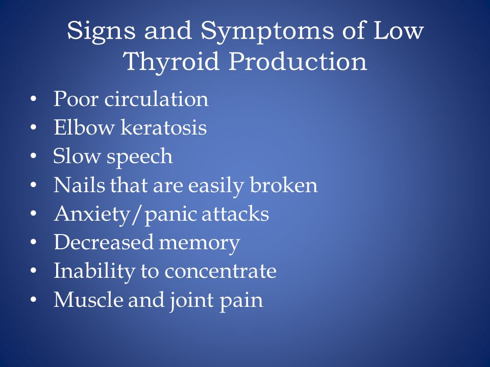 Signs and Symptoms of Low Thyroid Production
