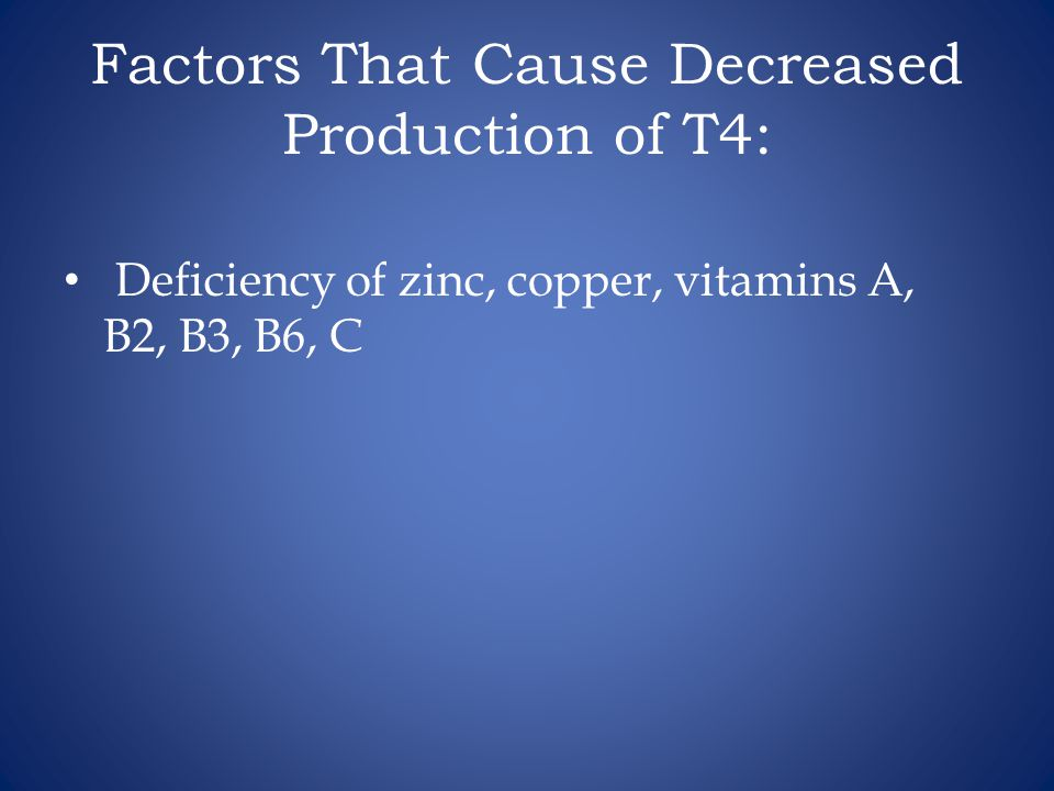 Factors That Cause Decreased Production of T4: