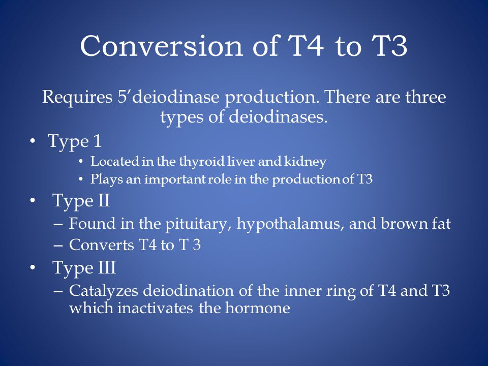 Conversion of T4 to T3 Requires 5'deiodinase production. There are three types of deiodinases. Type 1.