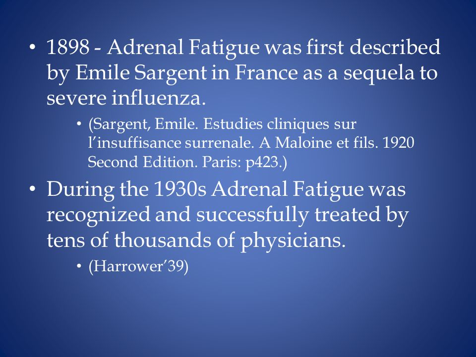 1898 - Adrenal Fatigue was first described by Emile Sargent in France as a sequela to severe influenza.