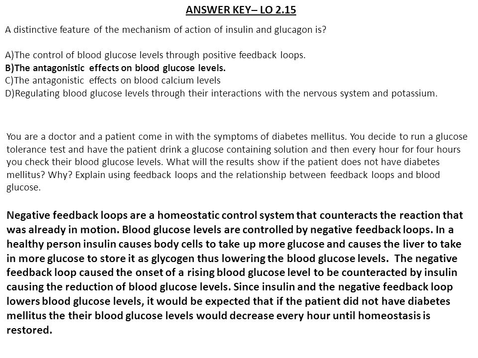 ANSWER KEY– LO 2.15 A distinctive feature of the mechanism of action of insulin and glucagon is