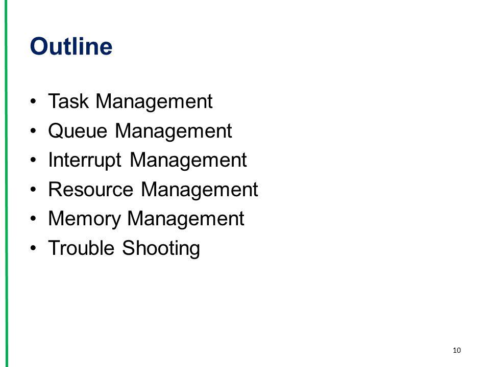 Outline Task Management Queue Management Interrupt Management