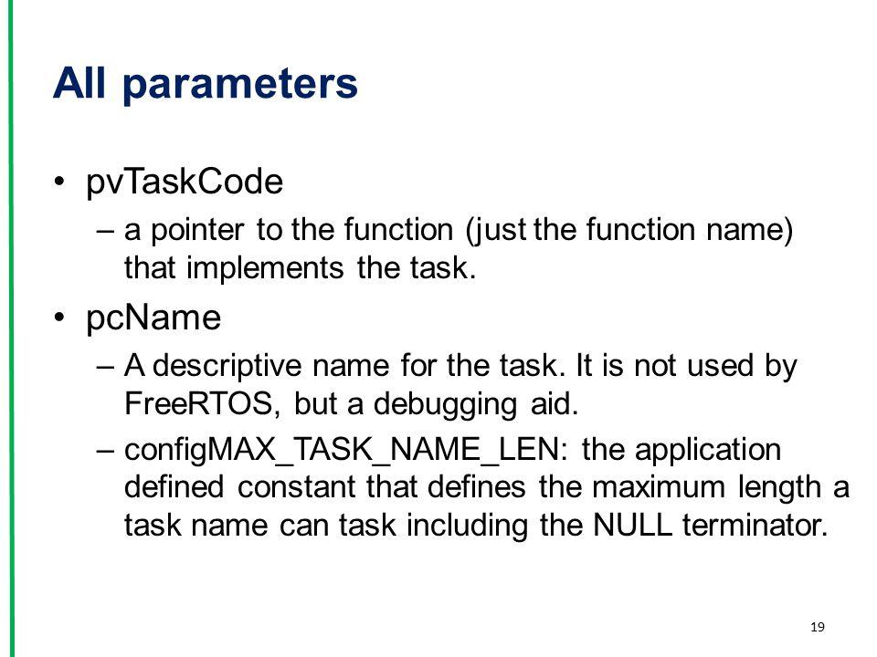 All parameters pvTaskCode pcName