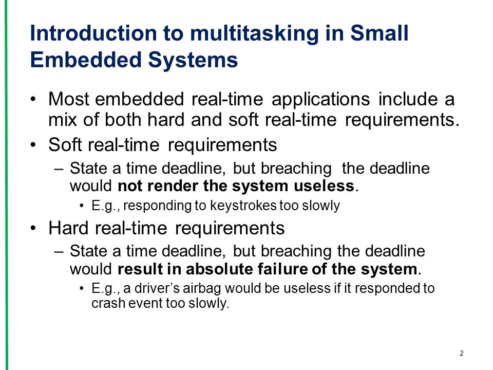 Introduction to multitasking in Small Embedded Systems
