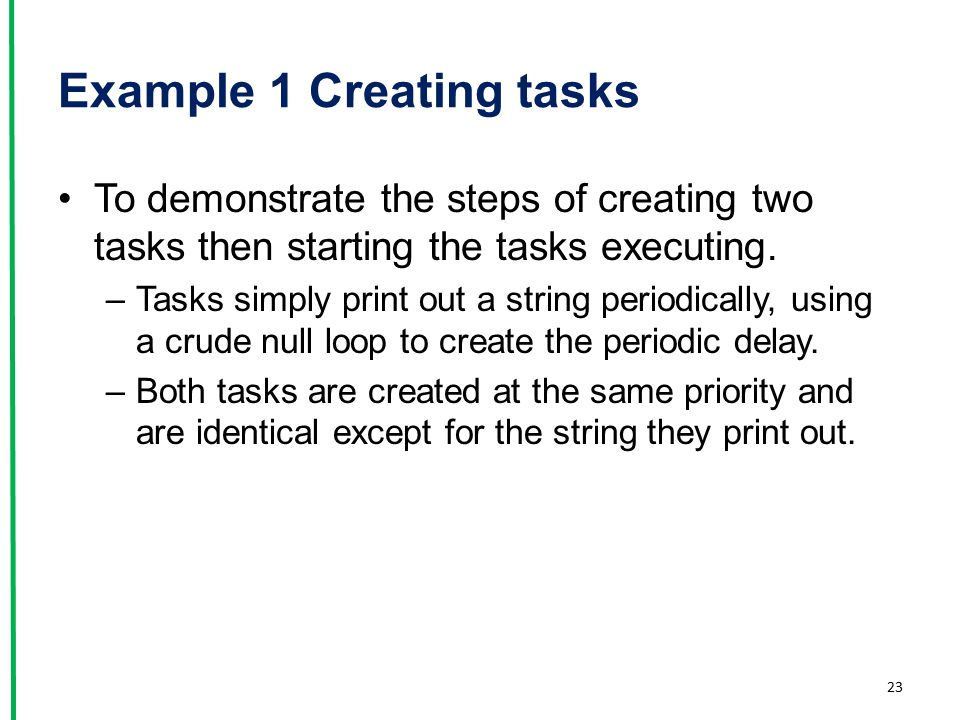 Example 1 Creating tasks