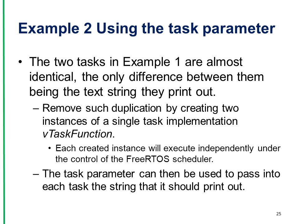 Example 2 Using the task parameter