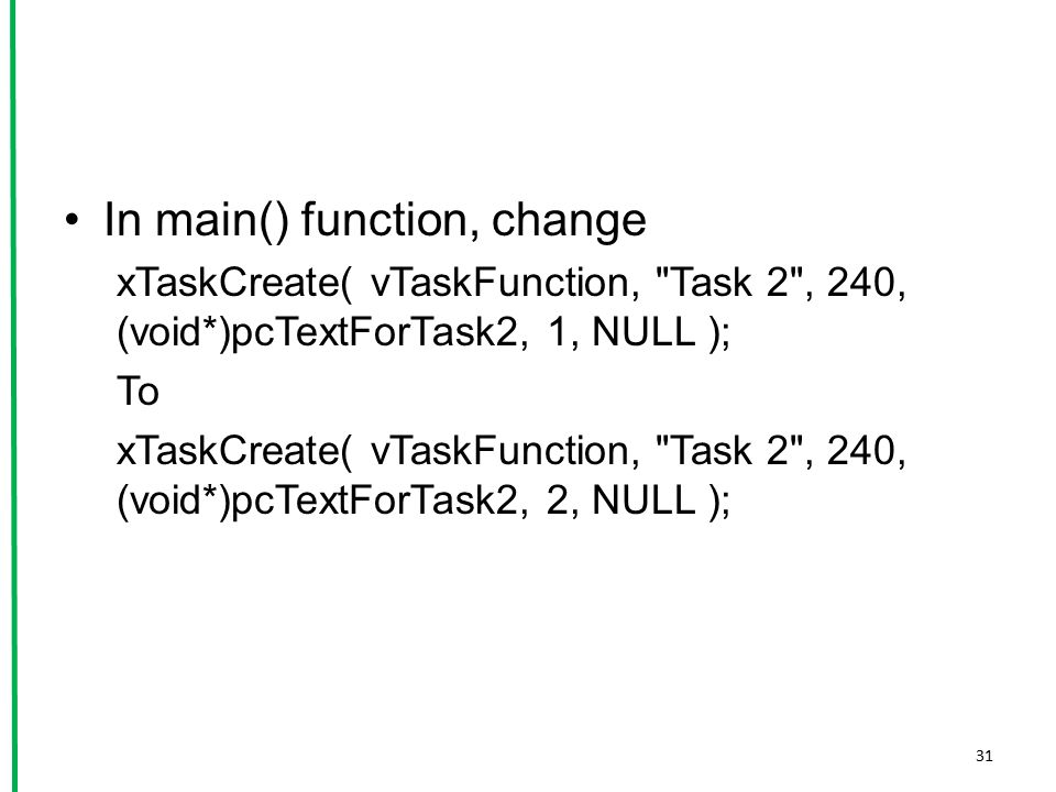 In main() function, change