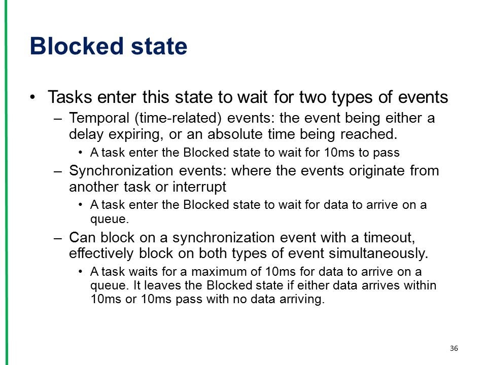 Blocked state Tasks enter this state to wait for two types of events