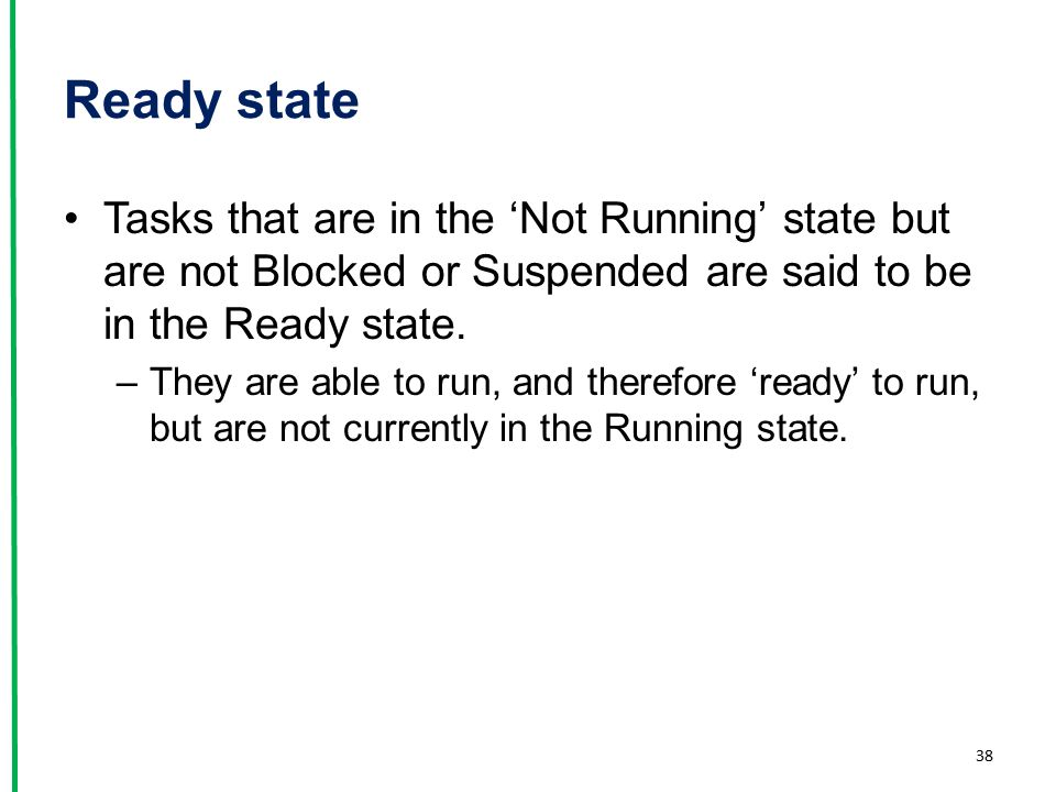 Ready state Tasks that are in the 'Not Running' state but are not Blocked or Suspended are said to be in the Ready state.