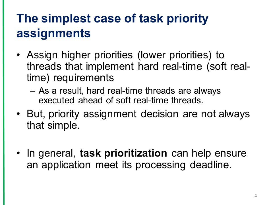 The simplest case of task priority assignments