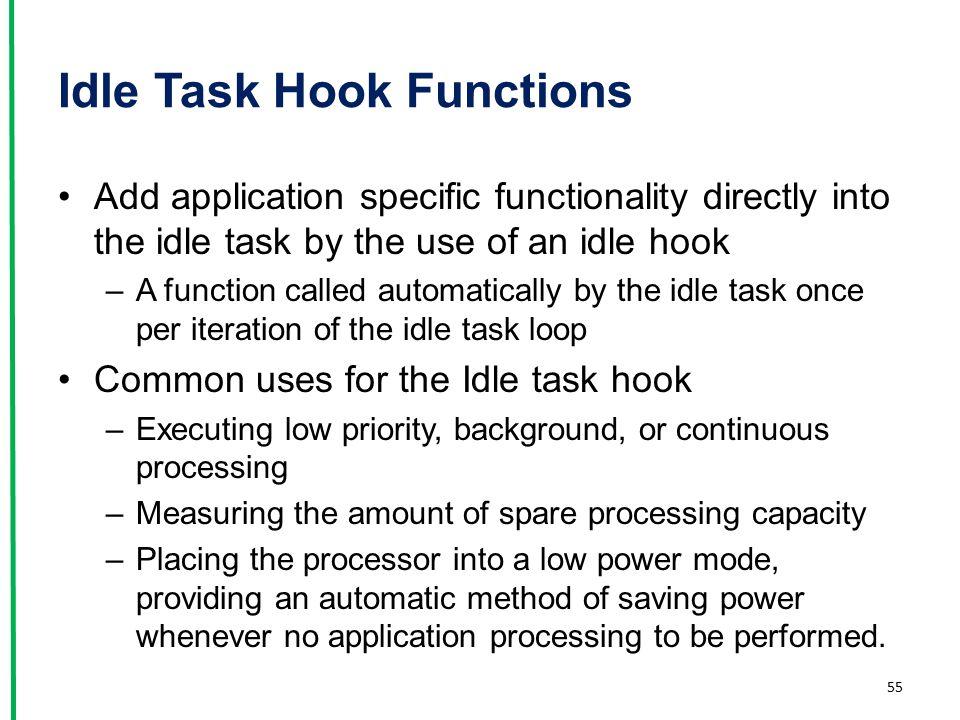Idle Task Hook Functions
