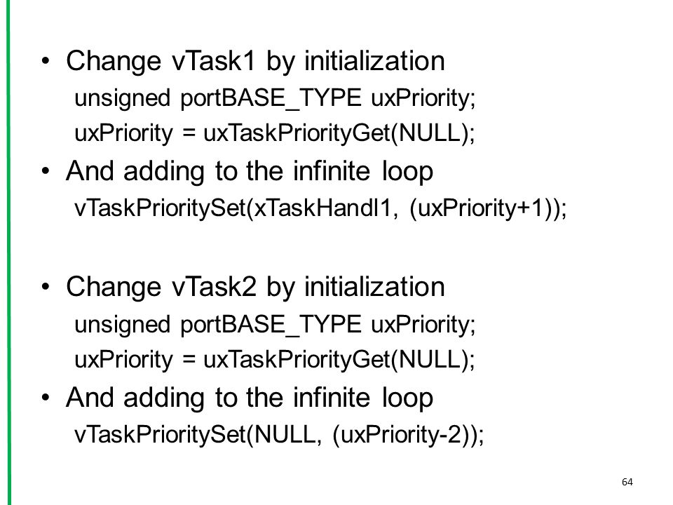 Change vTask1 by initialization