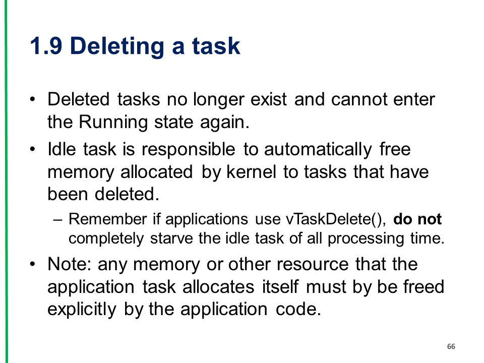 1.9 Deleting a task Deleted tasks no longer exist and cannot enter the Running state again.