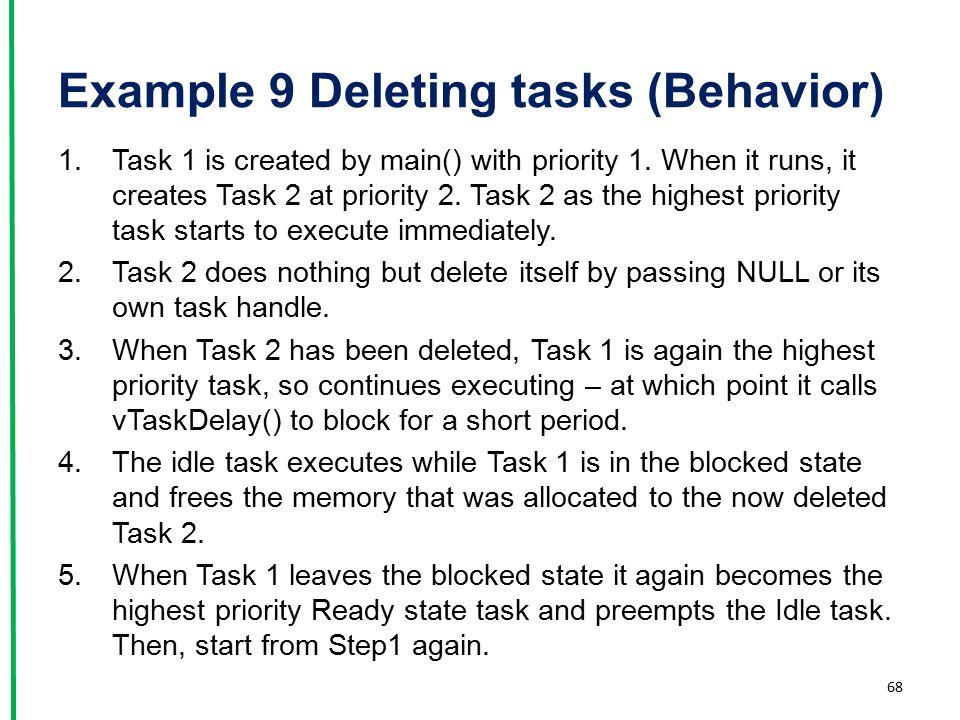 Example 9 Deleting tasks (Behavior)