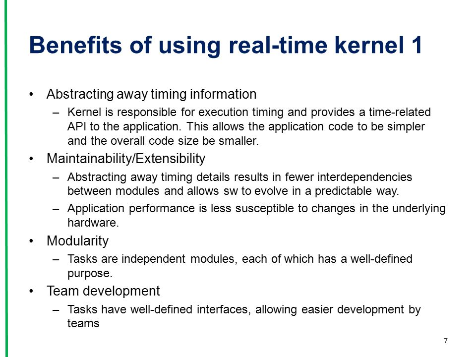 Benefits of using real-time kernel 1