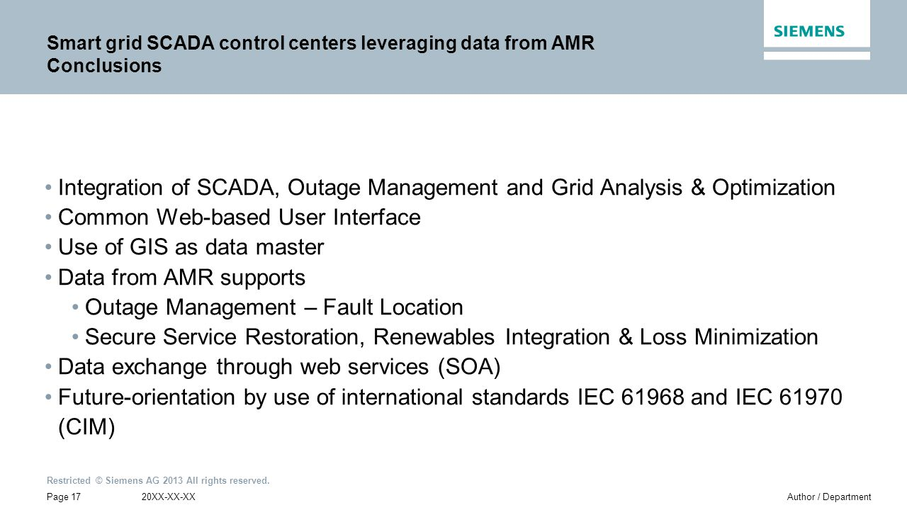 Smart grid SCADA control centers leveraging data from AMR Conclusions