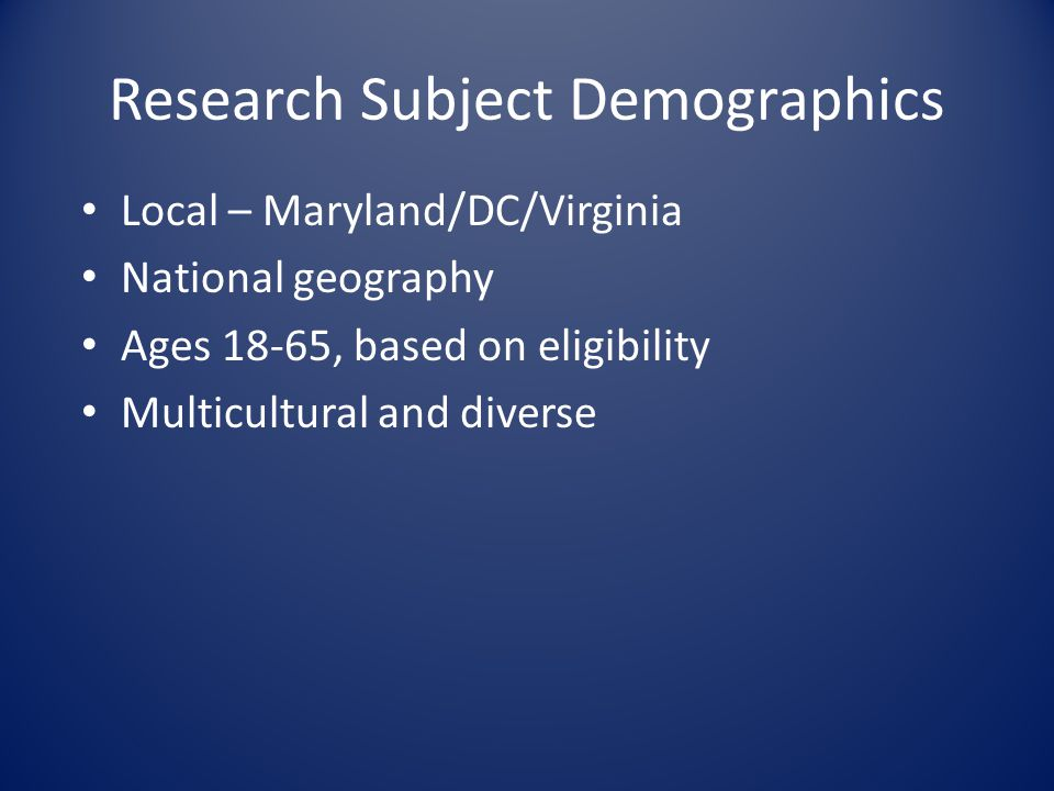 Research Subject Demographics