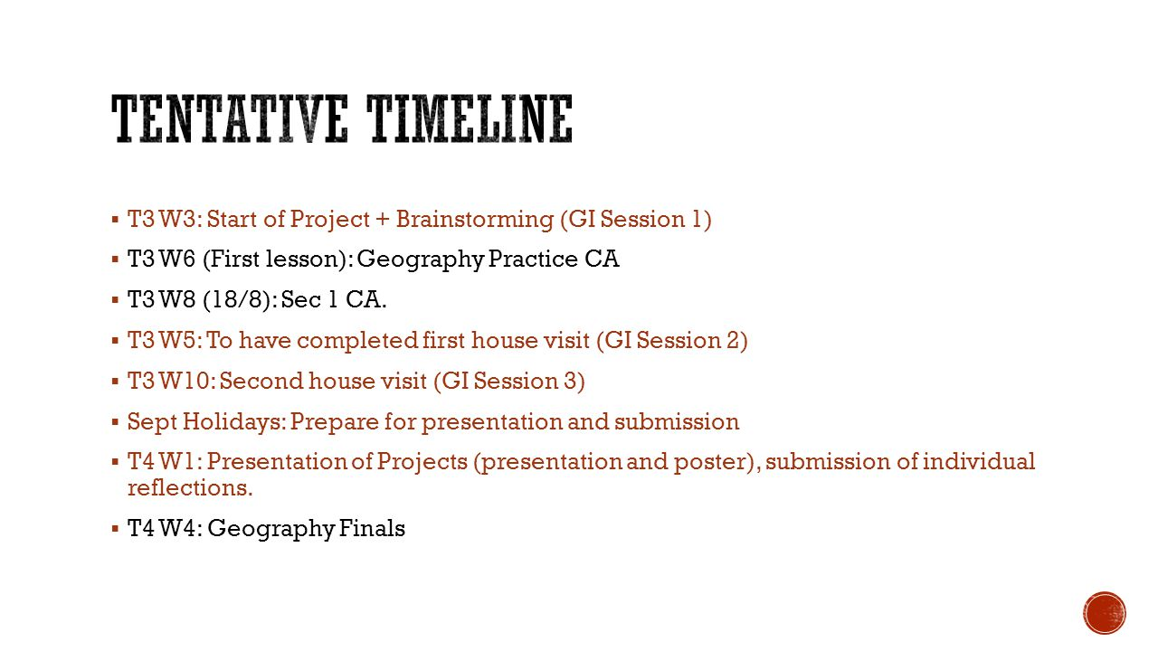 Tentative Timeline T3 W3: Start of Project + Brainstorming (GI Session 1) T3 W6 (First lesson): Geography Practice CA.