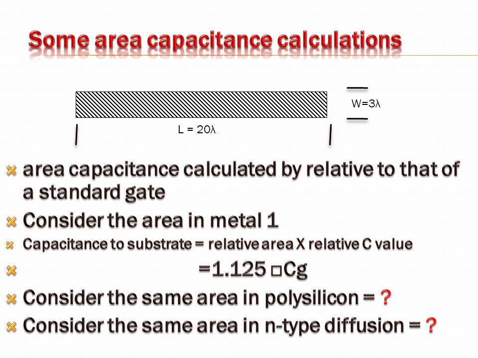 Some area capacitance calculations