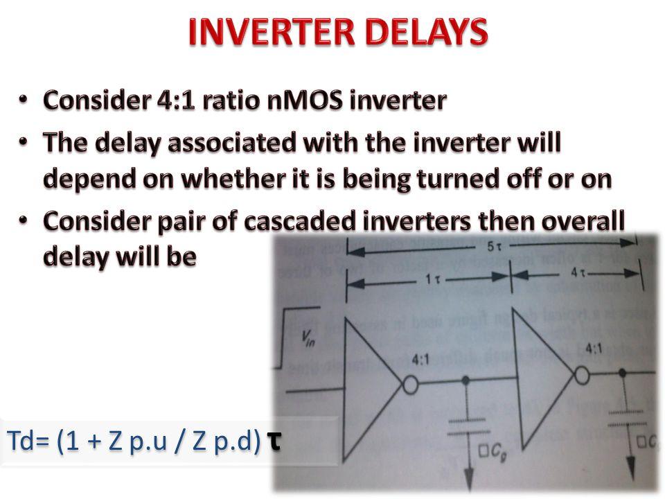 INVERTER DELAYS Consider 4:1 ratio nMOS inverter