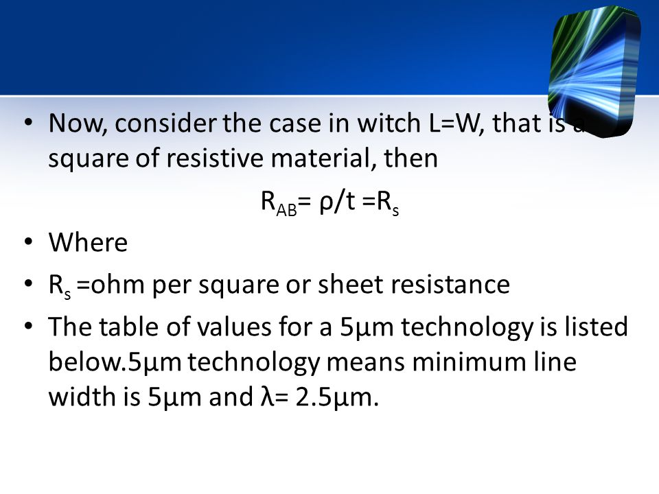 Now, consider the case in witch L=W, that is a square of resistive material, then