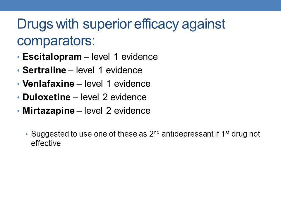 Drugs with superior efficacy against comparators:
