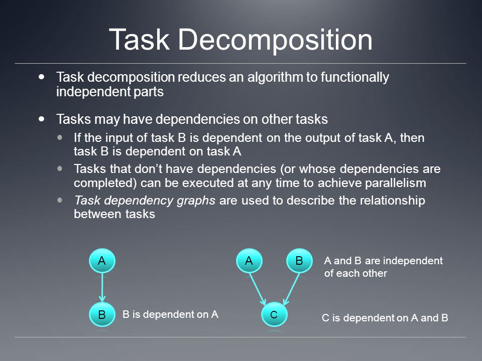 Task Decomposition Task decomposition reduces an algorithm to functionally independent parts. Tasks may have dependencies on other tasks.