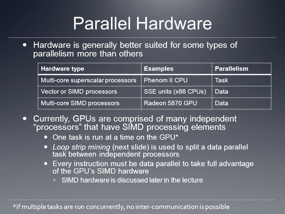 Parallel Hardware Hardware is generally better suited for some types of parallelism more than others.
