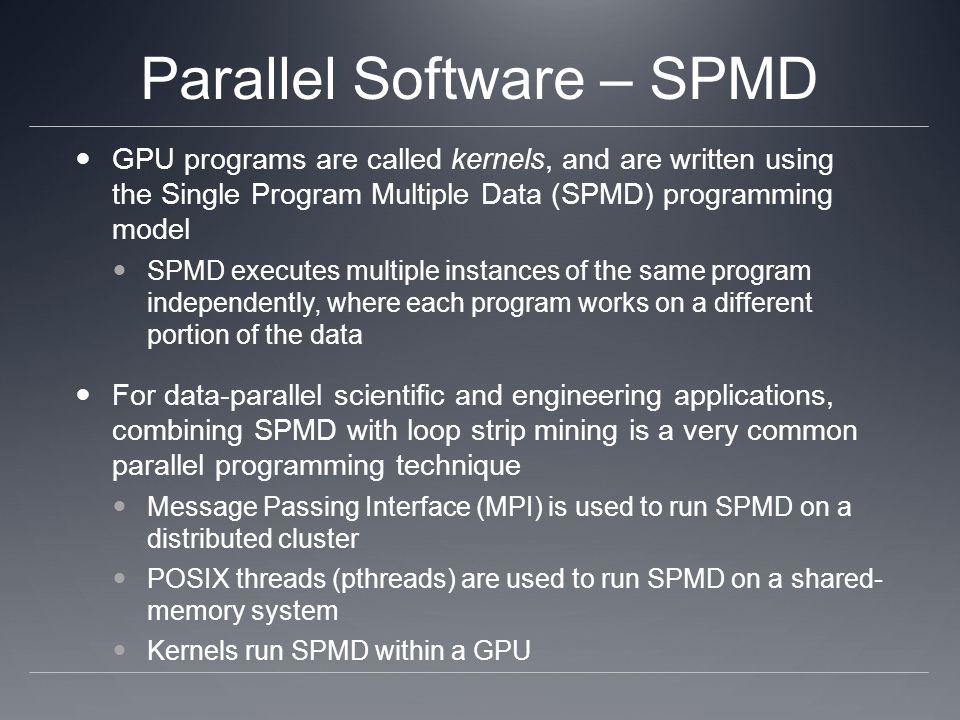 Parallel Software – SPMD