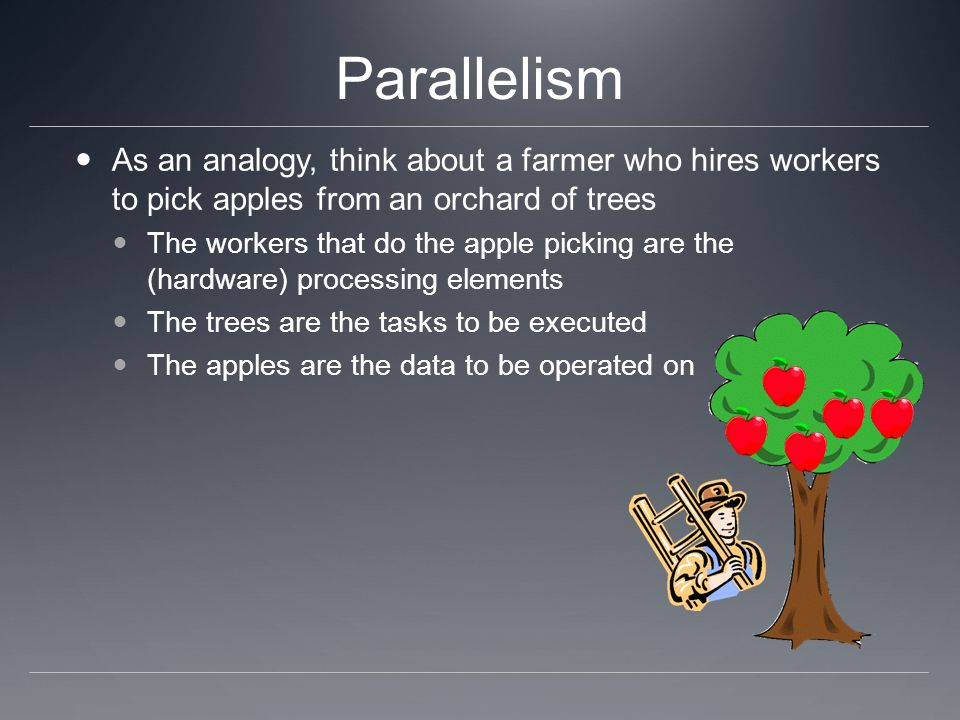 Parallelism As an analogy, think about a farmer who hires workers to pick apples from an orchard of trees.
