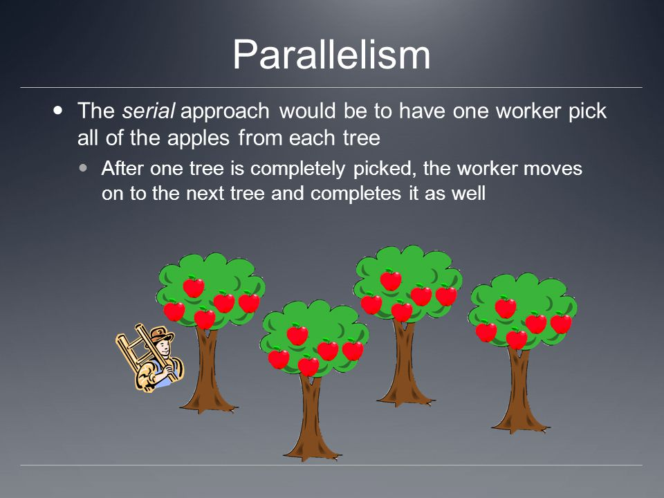 Parallelism The serial approach would be to have one worker pick all of the apples from each tree.
