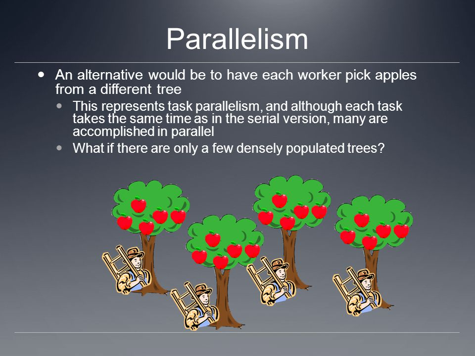 Parallelism An alternative would be to have each worker pick apples from a different tree.