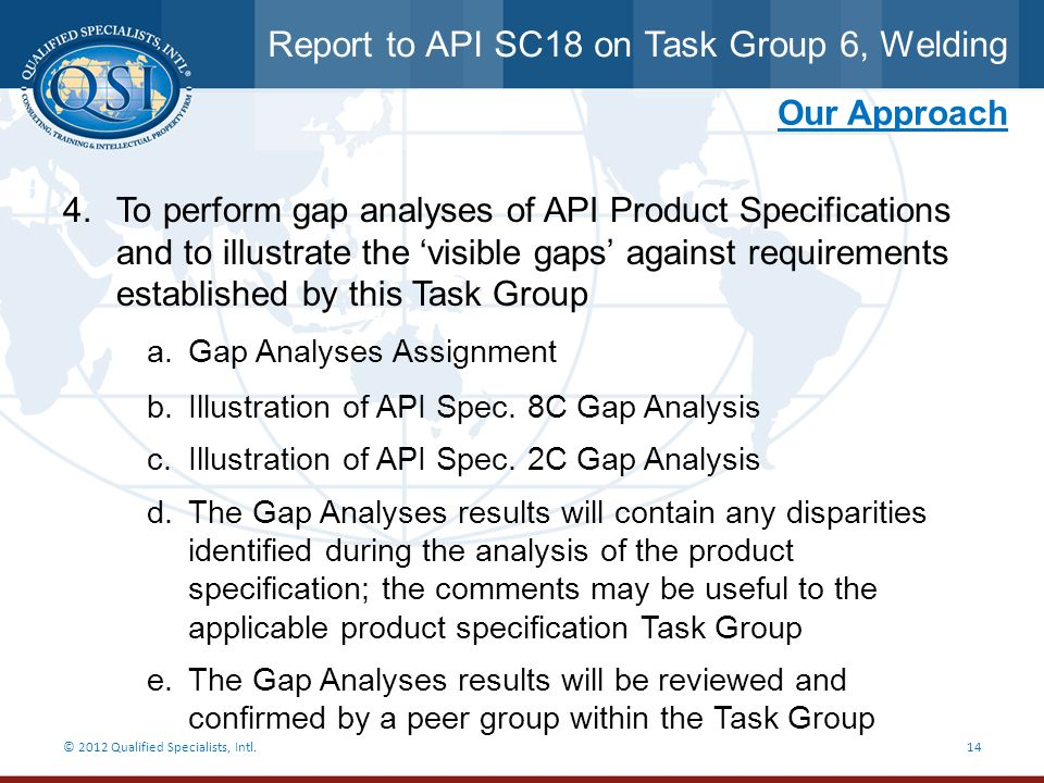 Report to API SC18 on Task Group 6, Welding
