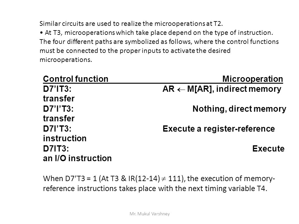 Control function Microoperation