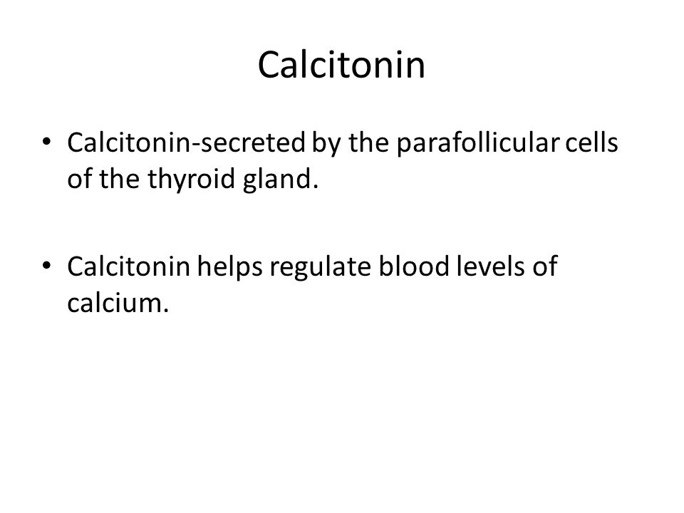 Calcitonin Calcitonin-secreted by the parafollicular cells of the thyroid gland.